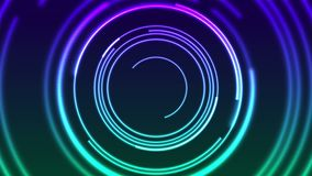 Colorful neon glowing linear circles abstract video animation stock video footage