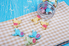Colorful neon gummy a cow candies Stock Photo