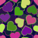 Colorful neon hearts. Seamless pattern. Stock Image