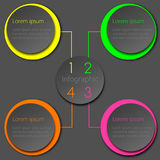 Colorful Neon Infographic Circle Design. Colorful vector infographic design template; circles in neon and grey shades with 3D effect Royalty Free Illustration