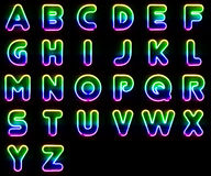Colorful Neon Letters Stock Images