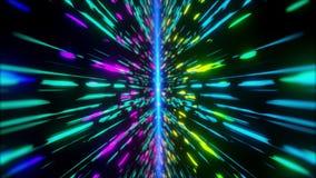 Colorful Neon light futuristic stream Data Communication flying into digital technologic animation 3D rendering