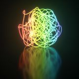 Colorful neon light tangle ball. On reflective floor background. 3D rendering Stock Photos