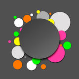 Colorful Neon Paper Circles. Colorful paper circles in neon and grey shades, abstract vector background with 3D effect Royalty Free Stock Photo