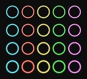 Colorful neon ring set. Color glowing rings various intensity light. Vector illustration Stock Image