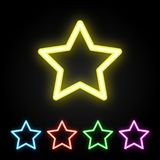 Colorful neon star set Royalty Free Stock Photo