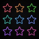 Colorful neon star set on transparent background. Colorful neon stars set on transparent background. Glowing led lamp technology star shape borders collection royalty free illustration