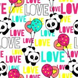 Colorful neon-style hand drawn pandas with love typography design seamless pattern vector. Colorful neon hand drawn pandas with hearts love typography design Royalty Free Stock Photos