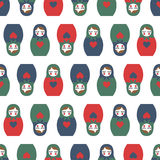 Colorful Nested doll seamless pattern. Stock Photo