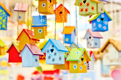 Colorful nesting boxes. Bright background stock photo