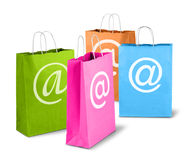 Colorful net trade shopping bags Royalty Free Stock Photography