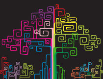 Colorful network tree. Illustration of colorful abstract network tree Royalty Free Stock Photo