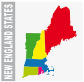 Colorful New England States administrative and political map royalty free illustration