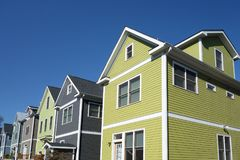 New home construction. Colorful new homes near downtown Raleigh, NC Royalty Free Stock Image