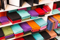 Colorful new leather wallet on crafts market in Chania, Crete, Greece. stock photo