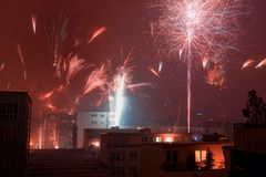 New year. Colorful new year's eve fireworks in the city of cologne, germany Stock Images