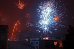 New year fireworks. Colorful new year's eve fireworks in the city of cologne, germany Royalty Free Stock Image