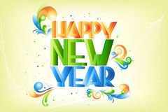 Colorful new year. Illustration of swirly and colorful new year text on abstract background vector illustration