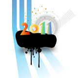 Colorful new year. 2011, copy space on ink splat Royalty Free Stock Images
