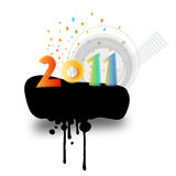 Colorful new year. 2011 on black ink splat with copy space Royalty Free Stock Photography