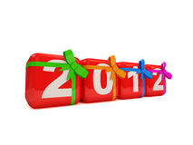 Colorful New Year 2012 with bow on white backgroun. D. 3d Image Stock Photos