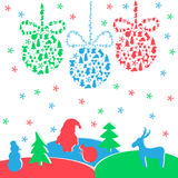 Colorful new year background with balls, Santa Claus Stock Images