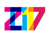 Colorful 2017 New Year Banner. Vibrant digits overlaying. CMYK colors. Bright date for calendar head, greeting, card, poster, party flyer. Strict geometric Vector Illustration