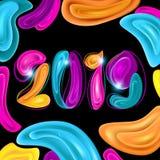 Shining Colorful New Year 2019 on Black Background. Colorful New Year 2019 on Black Background. Abstarct Liquid Shapes stock illustration