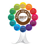 Colorful new year 2017 calendar  design. Creative colorful new year 2017 calendar tree shape design Stock Image