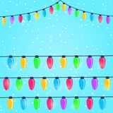 Colorful New Year and Christmas Light Bulbs Stock Photo