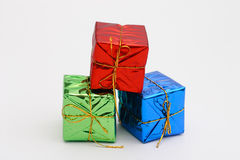 Colorful new year and Christmas present boxes. Red green blue Royalty Free Stock Image