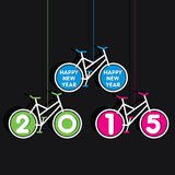 Colorful new year 2015 design. Creative happy new year 2015 design bicycle theme royalty free illustration