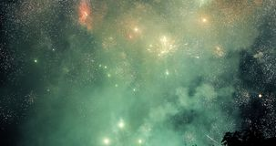 Colorful new year fireworks. Over dark sky Stock Photography
