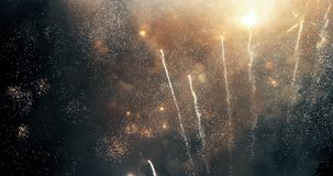 Colorful new year fireworks. Over dark sky stock photo
