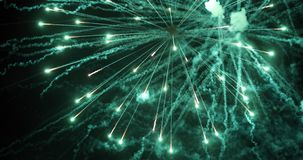 Colorful new year fireworks. Over dark sky Royalty Free Stock Photo