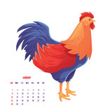Colorful 2017 New Year greeting card with rooster. Symbol of the year, vector illustration isolated on white background. New Year greeting card design for Vector Illustration