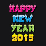 Colorful new year 2015 greeting design Stock Image