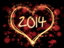 Colorful new year 2014 heart. Background with new year 2014 theme and numbers stock illustration