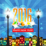 Colorful New Year's Eve card retro cartoon style New Year greetings card illustration. With design elements. New 2016 year greeting card for flyer, wallpaper Royalty Free Stock Photos