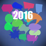 Colorful New Year Speech Bubbles Stock Photo