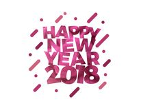 Happy New Year 2018 Colorful text vector illustration greeting card design. Colorful New Year vector Poster design Royalty Free Stock Images