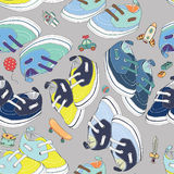 Colorful newborn shoes for boys with boys toys. Seamless pattern. Vector illustration on light grey background. Hand drawn colorful newborn shoes for boys with royalty free illustration