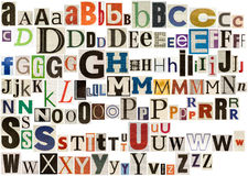 Colorful newspaper alphabet Royalty Free Stock Image