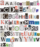 Colorful newspaper alphabet. Isolated on white Stock Photography