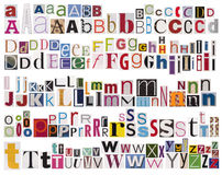 Colorful newspaper alphabet Stock Image