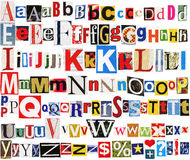 Colorful newspaper alphabet Stock Images