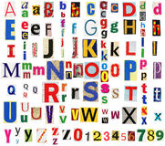 Colorful newspaper alphabet Stock Photo