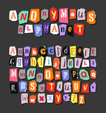 Colorful Newspaper alphabet. Hand made anonymous set. Vector Letters Stock Images