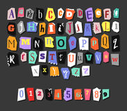 Colorful Newspaper alphabet. Hand made anonymous set. Vector Letters, numbers Stock Images