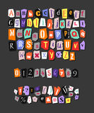 Colorful Newspaper alphabet. Hand made anonymous set. Vector Letters, numbers and punctuation marks Royalty Free Stock Image